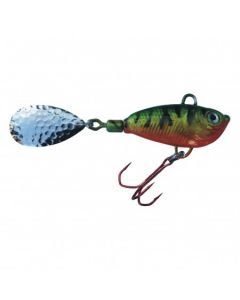 Spinner Jig mit Fischdekor Barsch / Blatt silber 60g