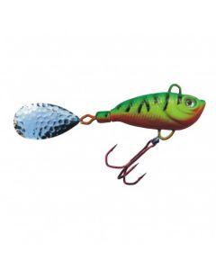Spinner Jig mit Fischdekor Firetiger / Blatt silber 7g