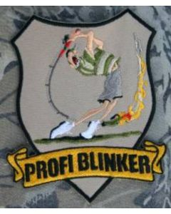 Profi Blinker Aufnäher beige Jubiläumsangler