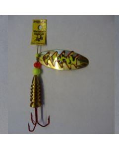 Spinner Oval - gold Folie feuergelb getiegert Größe 5