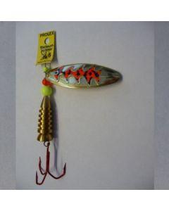 Spinner Oval - gold Folie signalrot getiegert Größe 4