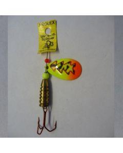 Spinner Tropfen - Fluo mit Reflexfolie feuergelb getiegert Größe 6