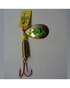 Spinner Tropfen - gold Folie fluogrün getiegert Größe 3