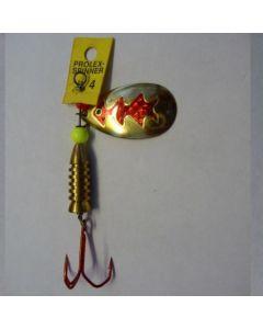 Spinner Tropfen - gold Folie rot metallic Größe 6