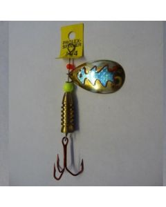 Spinner Tropfen - gold Folie blau metallic Größe 6