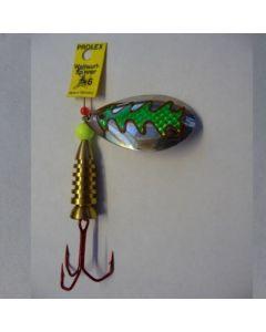Spinner Tropfen - silber Folie grün metallic Größe 5