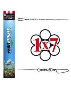 3 Stück Ocean-Wire 50cm Fertigmontage 1x7 mit Schlaufe und Wirbel silber 35kg